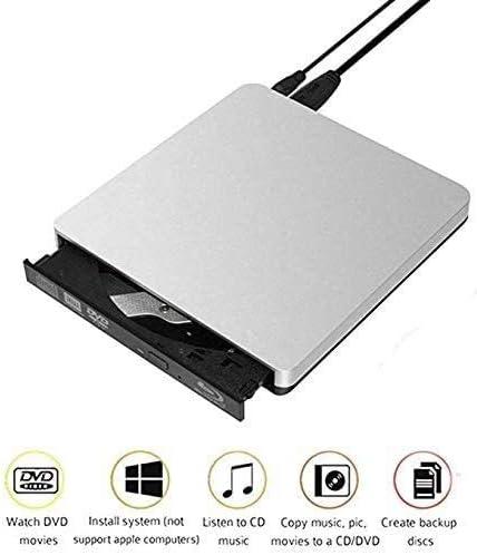 KJRJFD ポータブルDVDドライブ、コンパクトディスクCD-R/DVD + R/DVD-R/DVD + R DLと書き換え可能なディスクCD-RW/DVD-RW/DVD + RWに適しラップトップスリムバーナー用USB 3.0