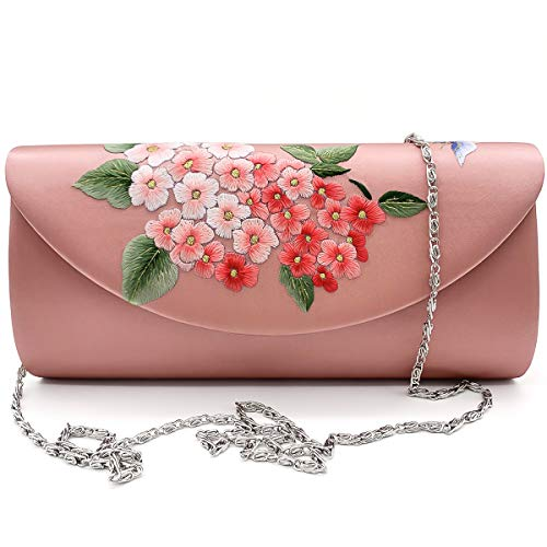 (Hand-embroidered Silk Crossbody Bag Women's Handbag Single Shoulder Bag Purse Massagers Bags (pink))