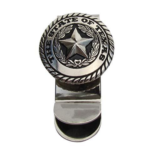 (Silver Texas State Seal Men's Money Clip Mens Wallet Card Holder TX Souvenir Gift)