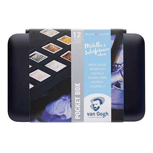Van Gogh Watercolor Paint Set, Plastic Pocketbox, 12-Half Pan Specialty Metallic & Interference Colors Selection]()