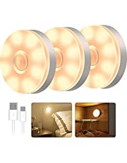 T Tersely 3 Pack LED Motion Sensor Light Indoor Wireless LED Closet Lights, USB Rechargable Night Light Step Light Cabinet Light, Night Safe Lighting for Under Cabinet, Counter, Stairs (Warm Lights)