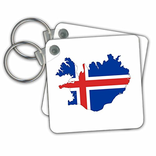 Outline Map Set - Maps In Exotic Form - Image of Flag Of Iceland Makes Up Map Outline - Key Chains - set of 2 Key Chains (kc_279998_1)