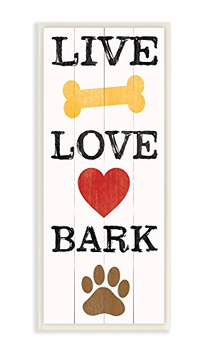 Canvas Wall Ornaments - The Stupell Home Decor Collection Live Love Bark With Bone Heart And Paw Art Wall Plaque, 7 x 0.5 x 17, Proudly Made in USA