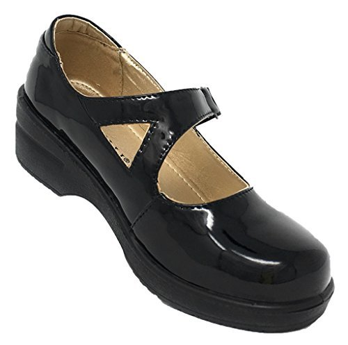 Rasolli Women's Professional Closed Back Mary Jane Clogs with Adjustable Strap, Black Patent, Size 7.0