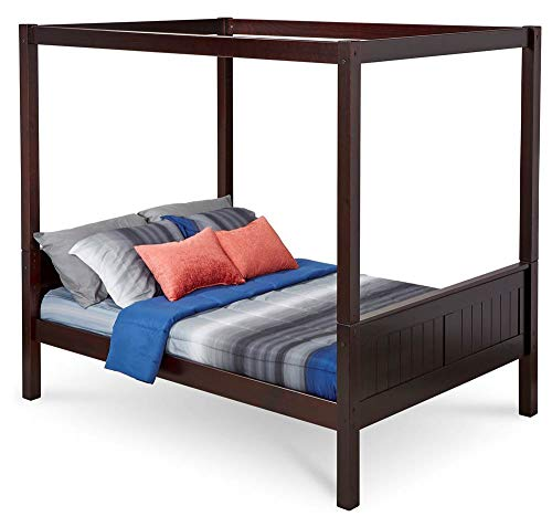Full Canopy Bed with Panel Headboard in Cappuccino Finish - Bed Cappuccino Finish