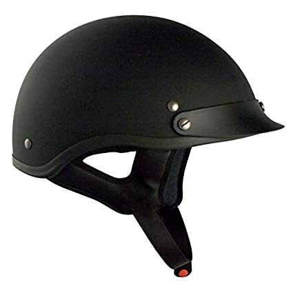 Large VCAN Cruiser Solid Flat Black Half Face Motorcycle Helmet