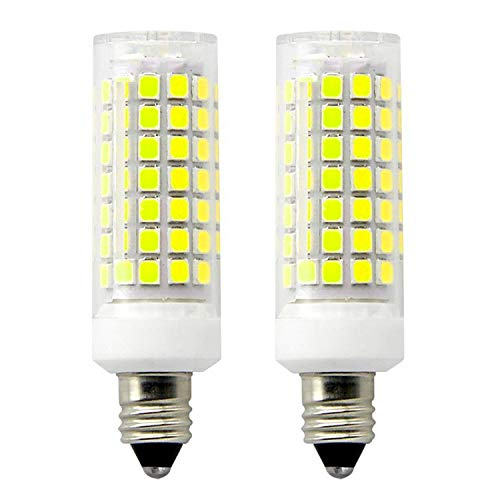 E11 LED Light Bulb Dimmable,Mini Candelabra Base,110V 120V 130 Voltage Input, CRI>90, 8.5 Watt, 75W Halogen Bulbs Replacement,JD E11 Base Daylight 6000K T3 T4 LED Bulb for Ceiling Fan(Pack of 2)