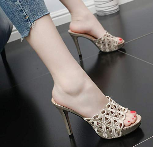 Mouth Drag Wild Fashion And Summer shoes women's Fish With 11Cm Golden High Outcrop Heel Fine Simple GTVERNH Comfortable Cool PqCwgw