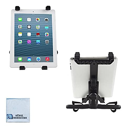 """eCostConnection Premium Universal Car Headrest Mount Holder for Ipads, Samsung Galaxy, and all tablets up to 10"""" inches + Microfiber (Gsm Unlocked Iphones S3)"""