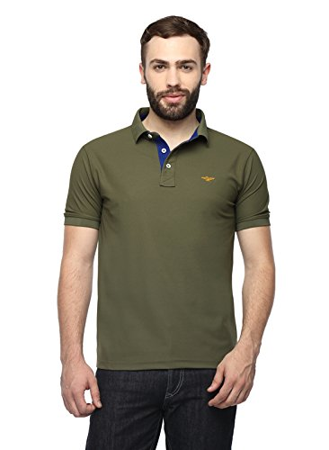 Stellers Solid Men's Olive Green Polo Neck T-shirt