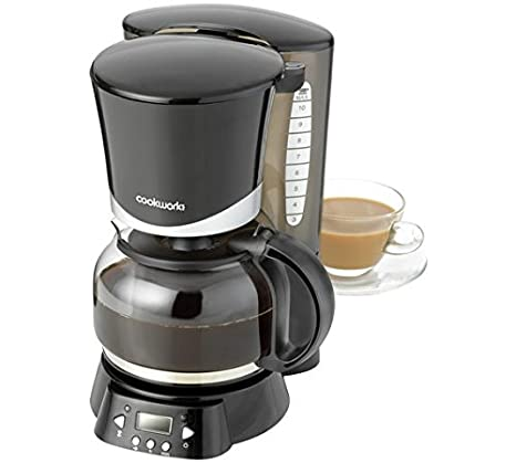 Black Cookworks Filter Coffee Maker With Timer 125 Litres