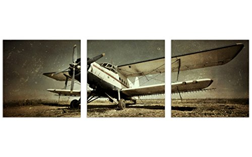 Framed Vintage Retro Old Airplane Canvas Wall Art Picture