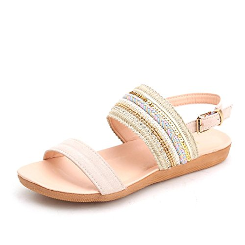 Lace Up Slingbacks (HOT Sale ,AIMTOPPY Sandals Female summer flat fish head sandals spell color rhinestone Roman sandals (US:8, Beige))