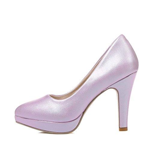 Allhqfashion Femmes Hauts Talons Solides En Cuir Verni À Bout Pointu Fermées Orteils Pompes-chaussures Violet