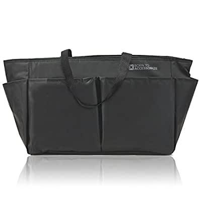 Premium Purse Organizer Insert - Perfect Bag Organizer for Large Tote & Handbag - Keep Everything Neat & Accessible (L-BLK)