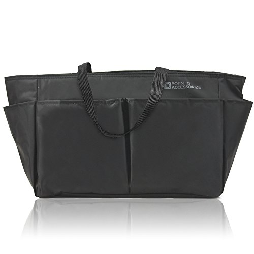 Premium Purse Organizer Insert - Perfect Bag Organizer for Large Tote & Handbag - Keep Everything Neat & Accessible (LV-L-BLK)