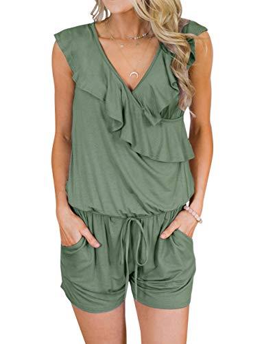 TECREW Women's Summer V Neck Ruffles Sleeveless Jumpsuit Elastic Waist Short Rompers with Pockets Army Green