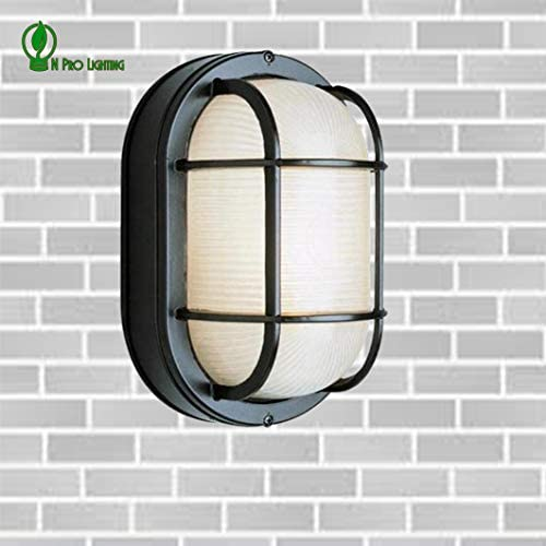 Outdoor Oval Nautical-Style Ceiling//Wall Light Fixture white with lamp /& grill