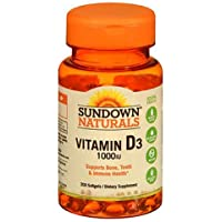 Sundown Naturals Vitamin D, High Potency D3, 1000 IU, Softgels, 100 ct (Pack of 3)
