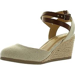 Soda Womens Request Closed Toe Espadrille Wedge Sandal In Natural Tan Linen,Natural/Tan,7