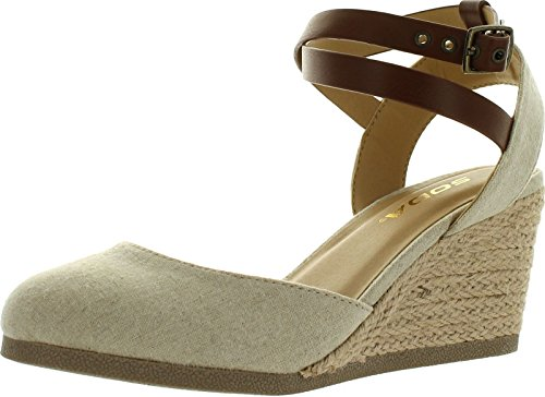 SODA Womens Request Closed Toe Espadrille Wedge Sandal in Natural Tan Linen,Natural/Tan,8