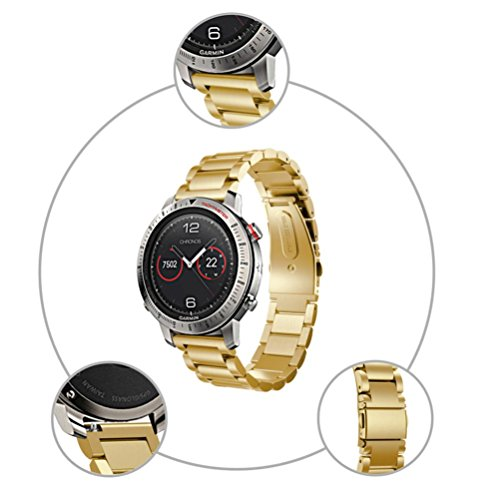 AutumnFall For Garmin Fenix Chronos Bands, 22MM Stainless Steel Bracelet Smart Watch Band Strap For Garmin Fenix Chronos,Large Strap Length:130-206mm (Gold) ()