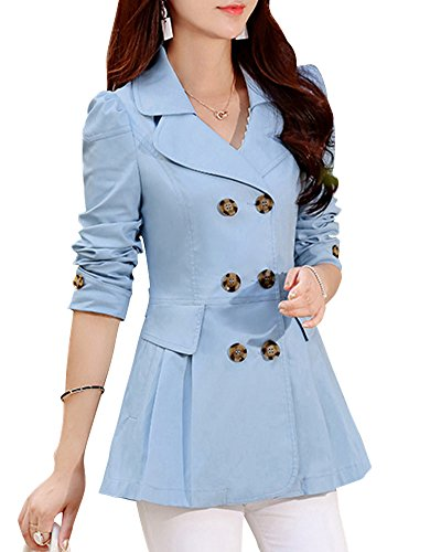 Revers Manteau Azur Splice Femme Double Trench Boutonnage Manteau Jacket Slim dqEwC