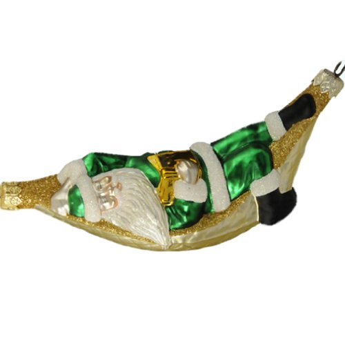 Patricia Breen Christmas Ornaments, A Respite for Santa, Green, 1997, 9733, Sleeps with book, hammock edged with glitter, original without glitter on bottom]()