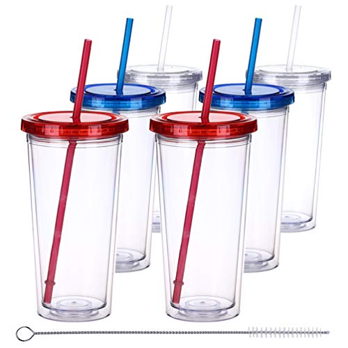 Plastic Glasses With Lids (H&F Tumblers with Lids and Straws, 22oz Double Wall Plastic Tumbler Bottles, Reusable Cup with Straw - Insulated Tumbler, BPA Free Pack of)