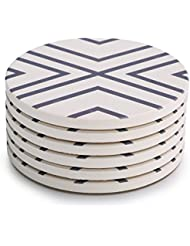 LIFVER 6-Piece Absorbent Stone Set, Drink Spills Coasters, Grey-Lines