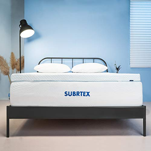 Subrtex 3 Inch Gel-Infused Memory Foam Bed Mattress Topper High Density Cooling Pad Removable Fitted Bamboo Cover Ventilated Design-10 Years Warranty (King)
