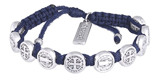 My Saint My Hero Handwoven Benedictine Blessing Bracelet, Adjustable (Silver Plated Medals on -