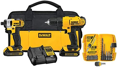 DEWALT DCK241C2 20V MAX Compact Drill Driver and Impact Driver Kit with 15 Piece Accessory Kit
