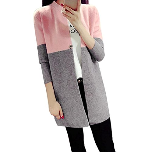 HOT Sale,AIMTOPPY Fashion Winter Womens Long Jackets Autumn Warm Slim Ladies Coat Outwear TOP Cardigan (FREE, Pink) (Knit Bed Jacket)