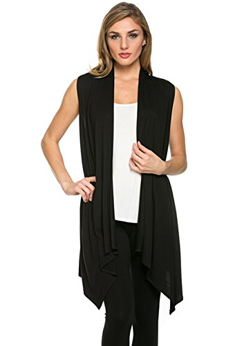 Women's Solid Color Sleeveless Asymetric Hem Open Front Card