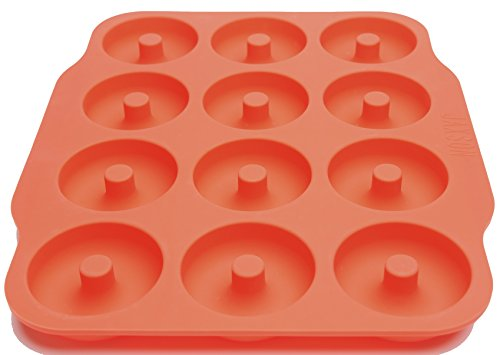 Large Donut Pan, Silicone Bagel Mold, 12 Cavity Non Stick Professional Grade, Heat Resistant, Heavy Duty, Baking Made Easy with Bonus Recipes (Orange)