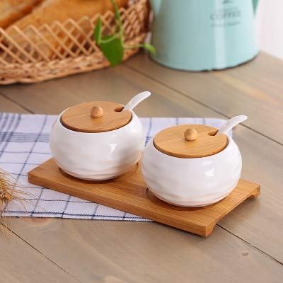 Herb & Spice Tools | Ceramic Condiments Jar Household Seasoning Box Wooden Tray Spice Jar Soy Sauce Pot Salt Sugar Single Can Kitchen Seasoning Tool | By ATUTI by ATUTI