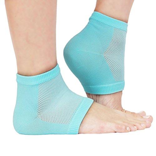 ULTNICE Moisturising Socks Aloe Socks Gel Heel for Spa Open Toe Socks (Light Green)