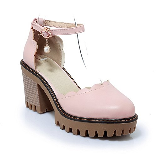 BalaMasa Womens Sandals Closed-Toe No-Closure High-Heel Solid Cold Lining Waterproof Smooth Leather Cushioning Sandals ASL04598 Pink