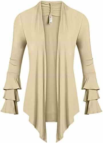 Simlu Womens Open Front Cardigan Sweater Ruffle Long Sleeve Cardigan Reg  and Plus Size - Made e1dd6fe1b