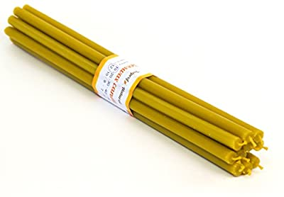 """20 Natural 100% Pure Beeswax Taper Candles ( 10"""") Natural Honey Scent"""