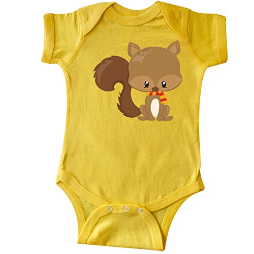 inktastic Cute Squirrel with Fluffy Tail and a Infant Creeper 6 Months Yellow (Colorful The Squirrel Owl Monkeys)