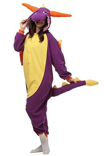 Weslisa Adults Onesie Unicorn Cosplay Costume Sleepwear Halloween Costumes Purple Large (Large, Dinosaour Purple) -