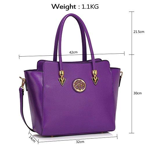LeahWard® Damen Groß nett Schultertaschen Tote Handtaschen 149 Lila Taschen