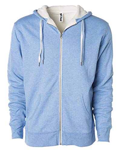 Global Unisex Heavyweight Sherpa Lined Zip Up Fleece Hoodie Jacket Sky M