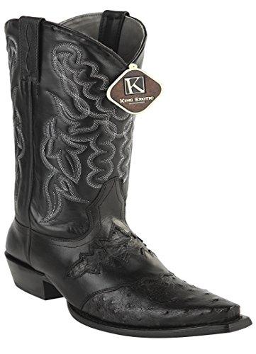Womens Snip Toe Black Genuine Leather Saddle Ostrich Skin Western Boots IVOyez