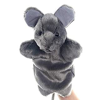 SweetGifts Mouse Hand Puppets Plush Animal Toys for Imaginative Pretend Play Stocking Storytelling Grey