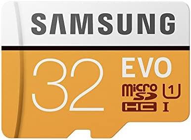 Samsung EVO - Tarjeta de memoria microSD de 32 GB (MicroSDXC EVO, 32 GB, MicroSDXC, Clase 10, 95 MB/s, UHS-I, IPX7), Naranja/Blanco