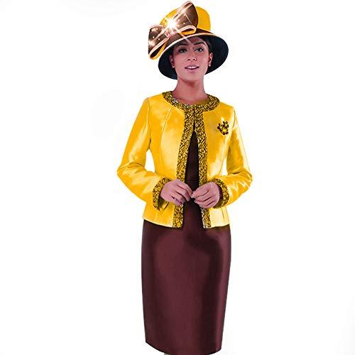 Kueeni Women Church Suits with Hats Church Dress Suit for Ladies Formal Church Clothes (Orange/Brown hat&Suit, ()