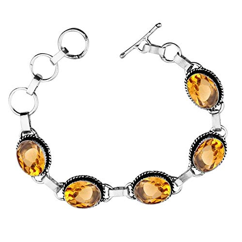 Oval Shape Simulated Citrine Tennis Link Bracelet 925 Silver Overlay Handmade Vintage Bohemian Style Jewelry for Women Girls